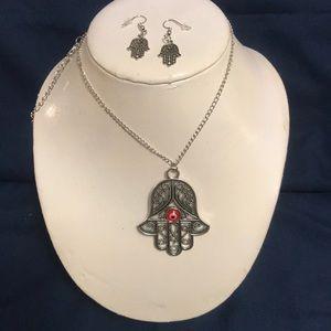 bd7595bcca42 ... Evil Eye Hamsa Necklace   Earrings Set Versace Dark Havana Oval  Sunglasses MOD.
